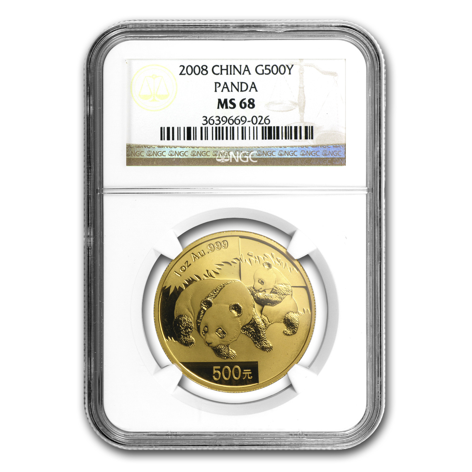 2008 China 1 oz Gold Panda MS-68 NGC