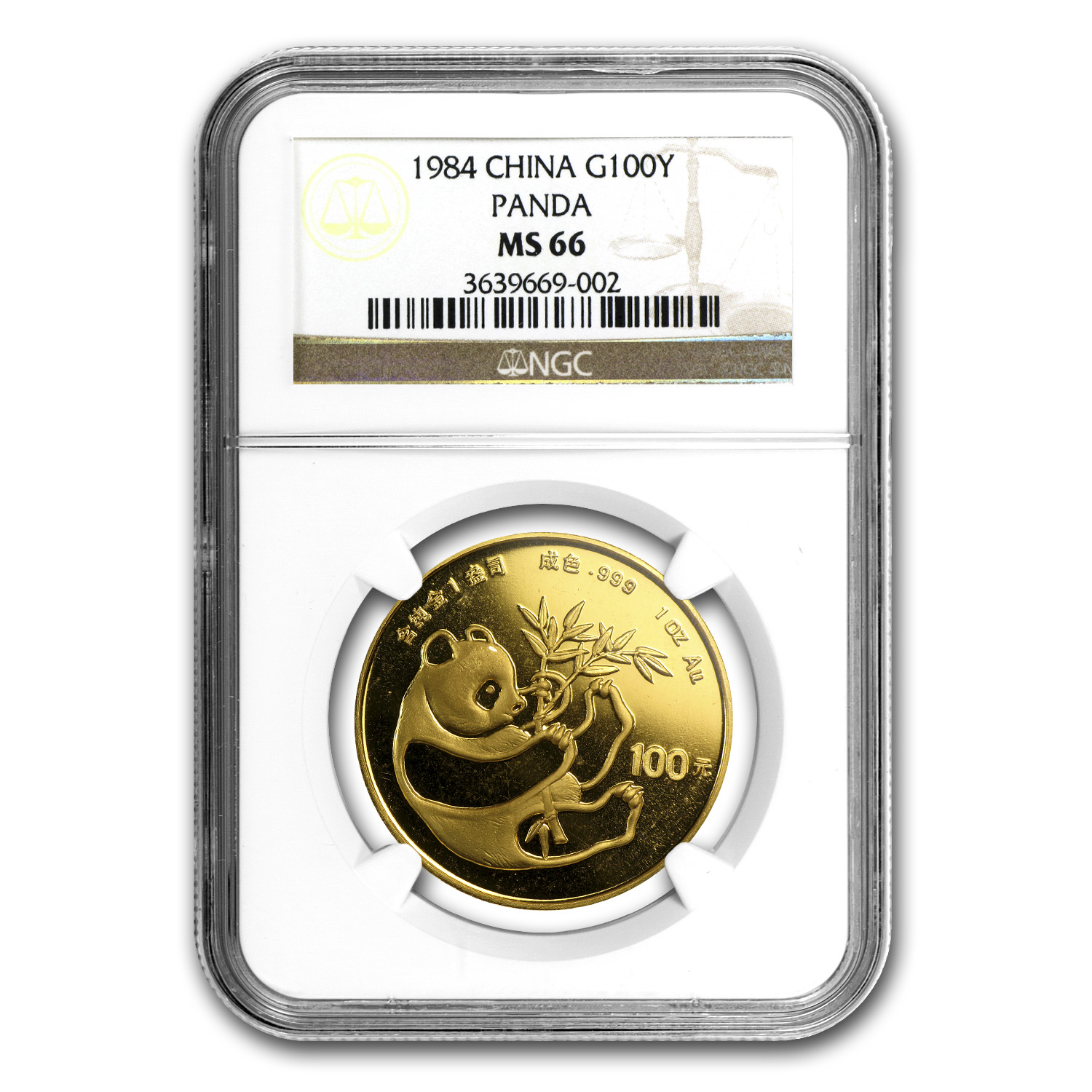 1984 China 1 oz Gold Panda MS-66 NGC