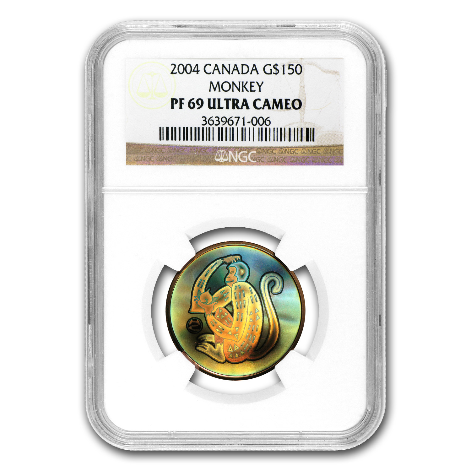 2004 Gold Canadian Lunar Year Monkey Hologram PF-69 UCAM NGC