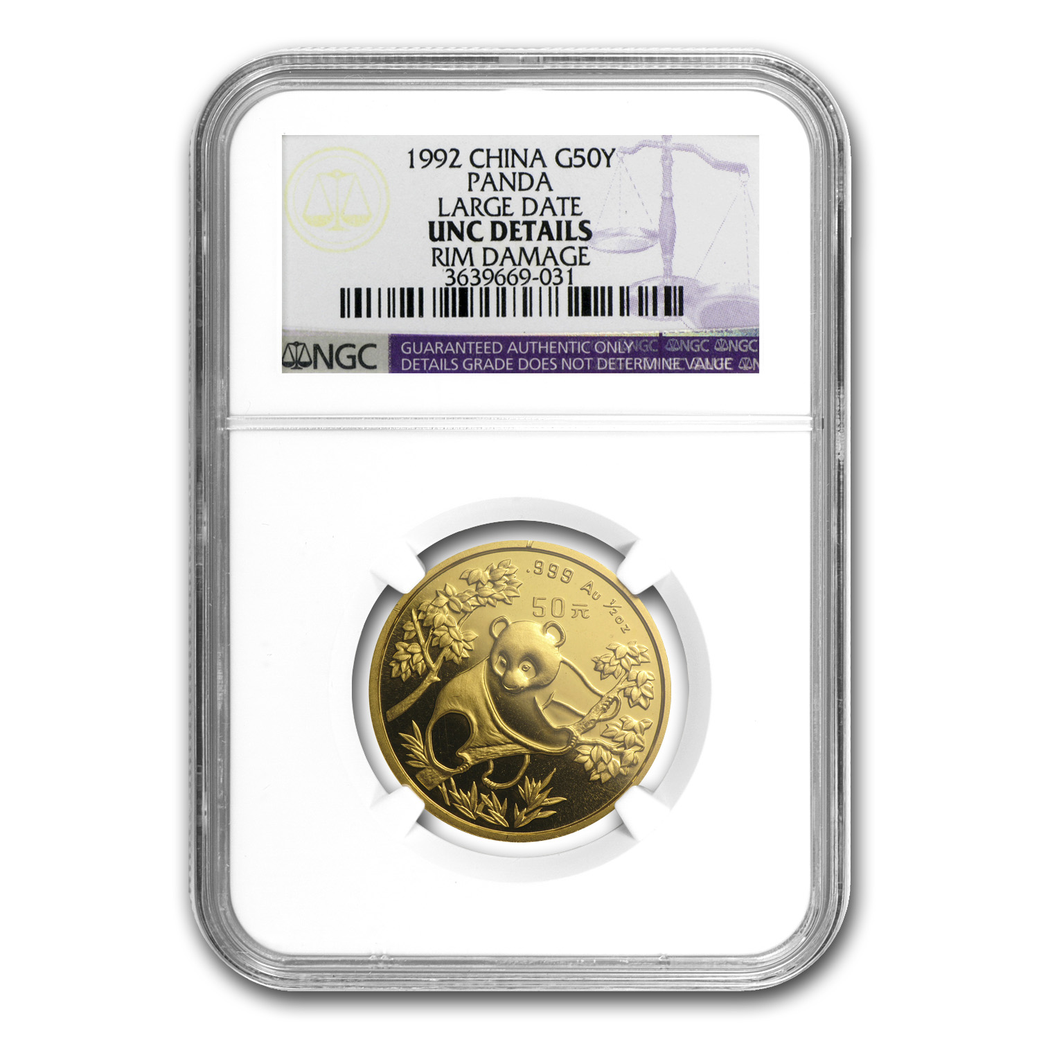 1992 China 1/2 oz Gold Panda Large Date Unc Details NGC