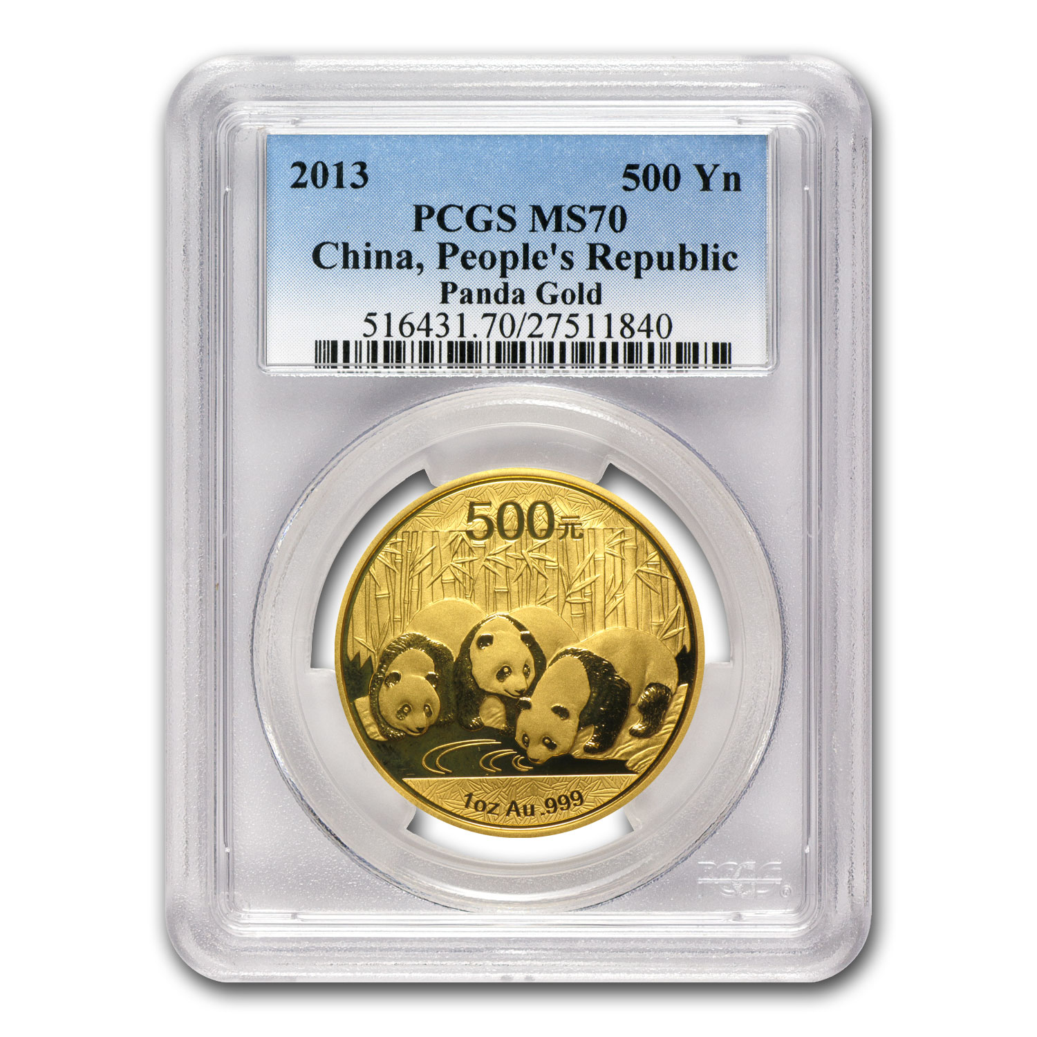 2013 China 1 oz Gold Panda MS-70 PCGS