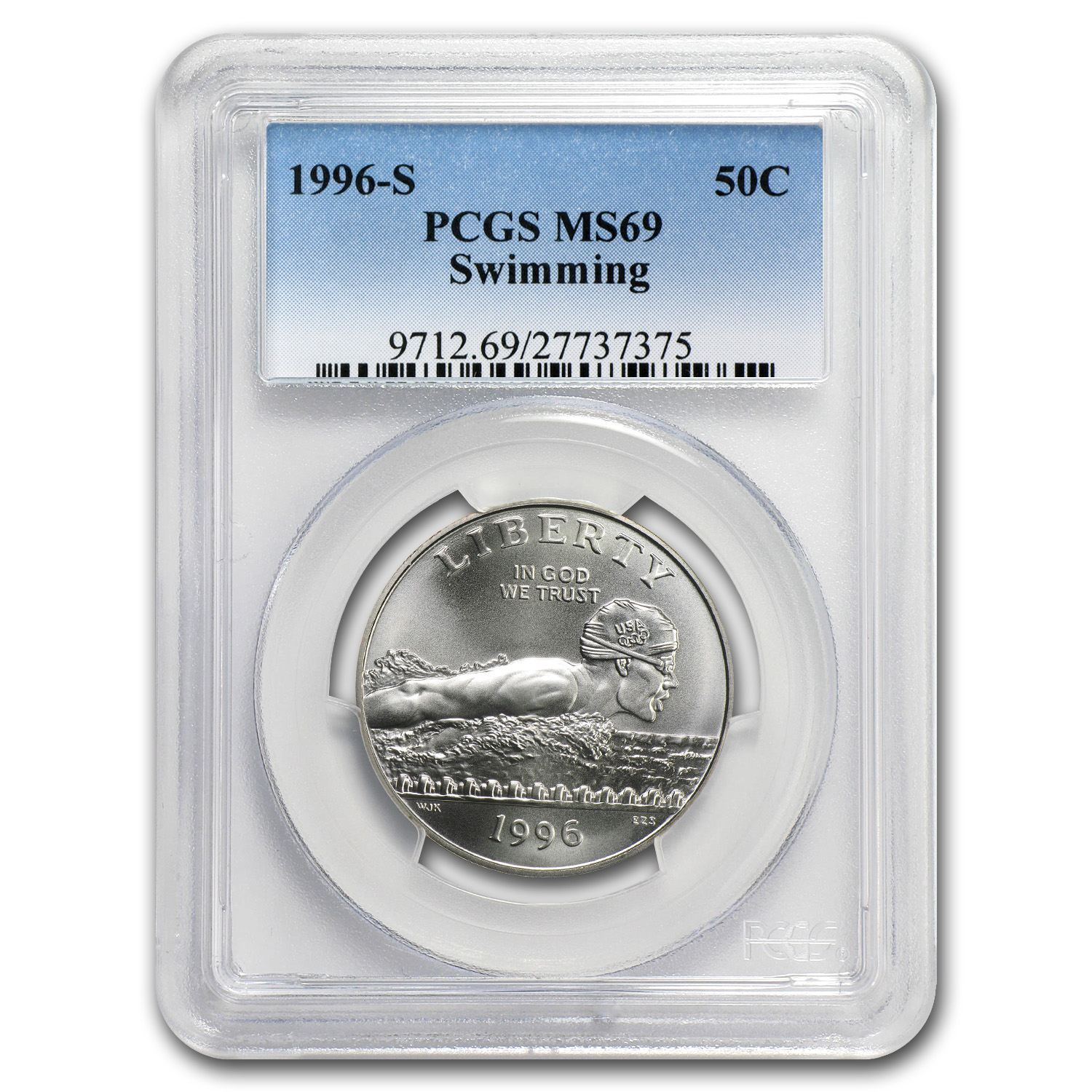 1996-S Olympics Half Dollar Clad Commem MS-69 PCGS (Swimming)