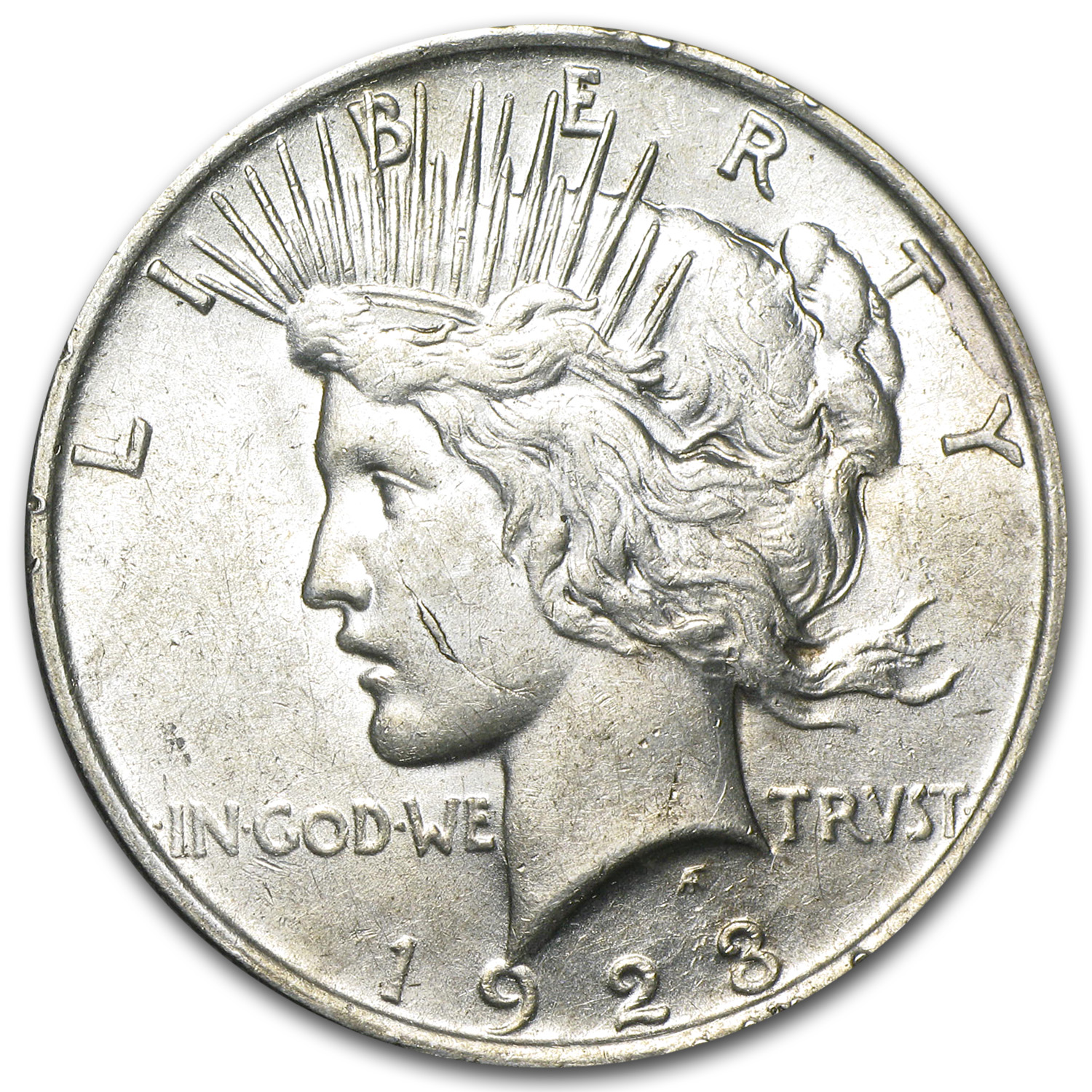 1923 Peace Dollar AU-58 (VAM-1D Whisker Cheek, Top-50)