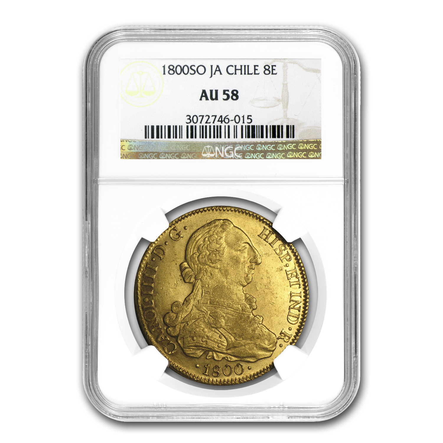 1800-SO JA Chile Gold 8 Escudos Charles IIII AU-58 NGC