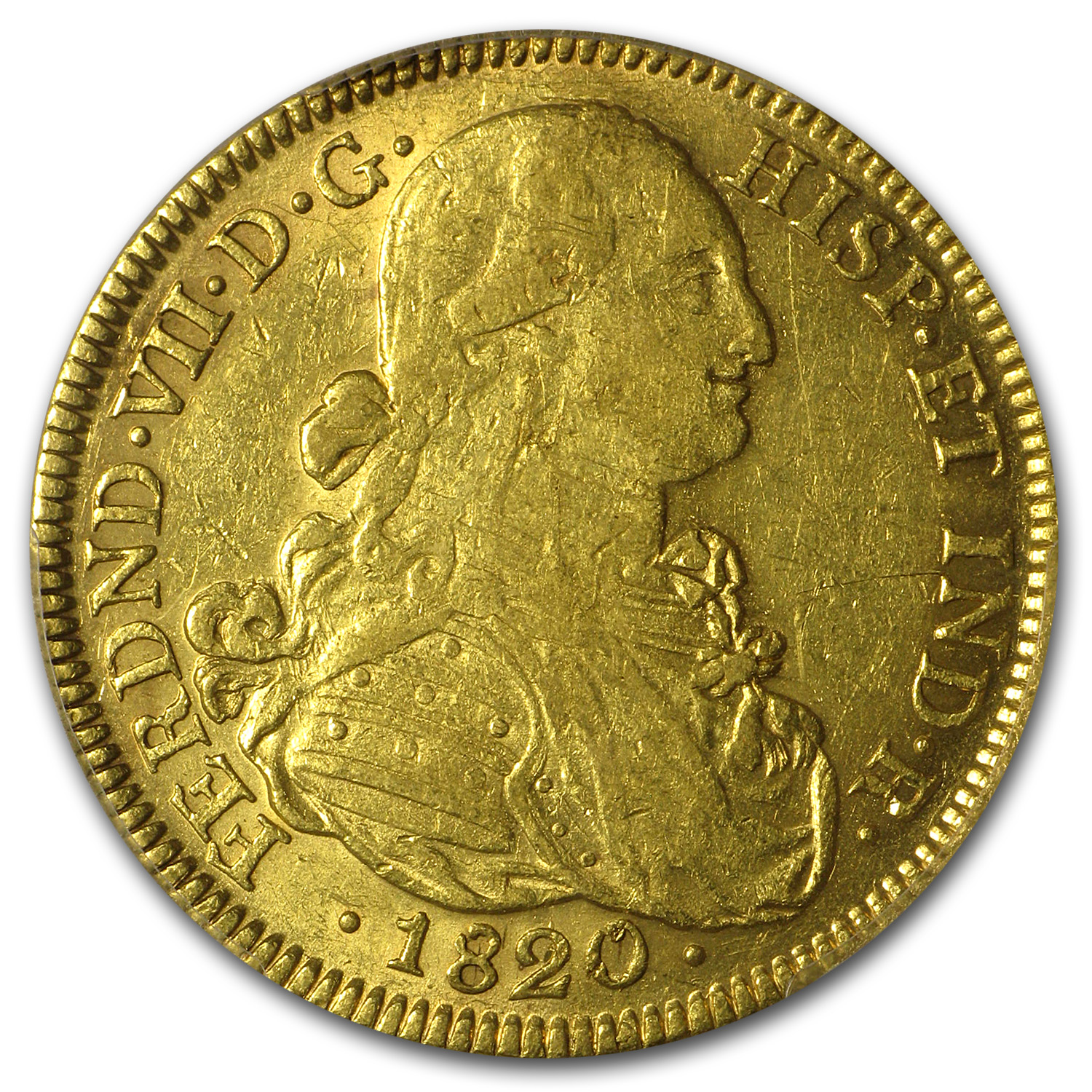 Colombia 1820 NR-JF Gold 8 Escudo Ferdinand VII AU-55 PCGS