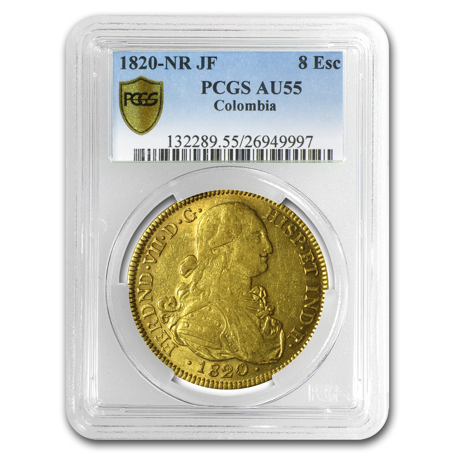 1820 NR-JF Colombia Gold 8 Escudo Ferdinand VII AU-55 PCGS
