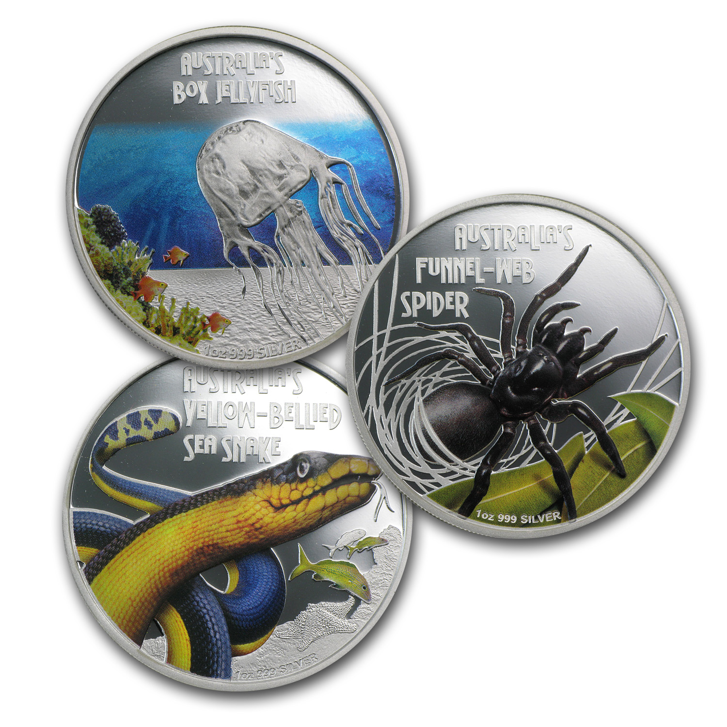 2011-13 Tuvalu 3-Coin 1 oz Silver Deadly & Dangerous Prf Set