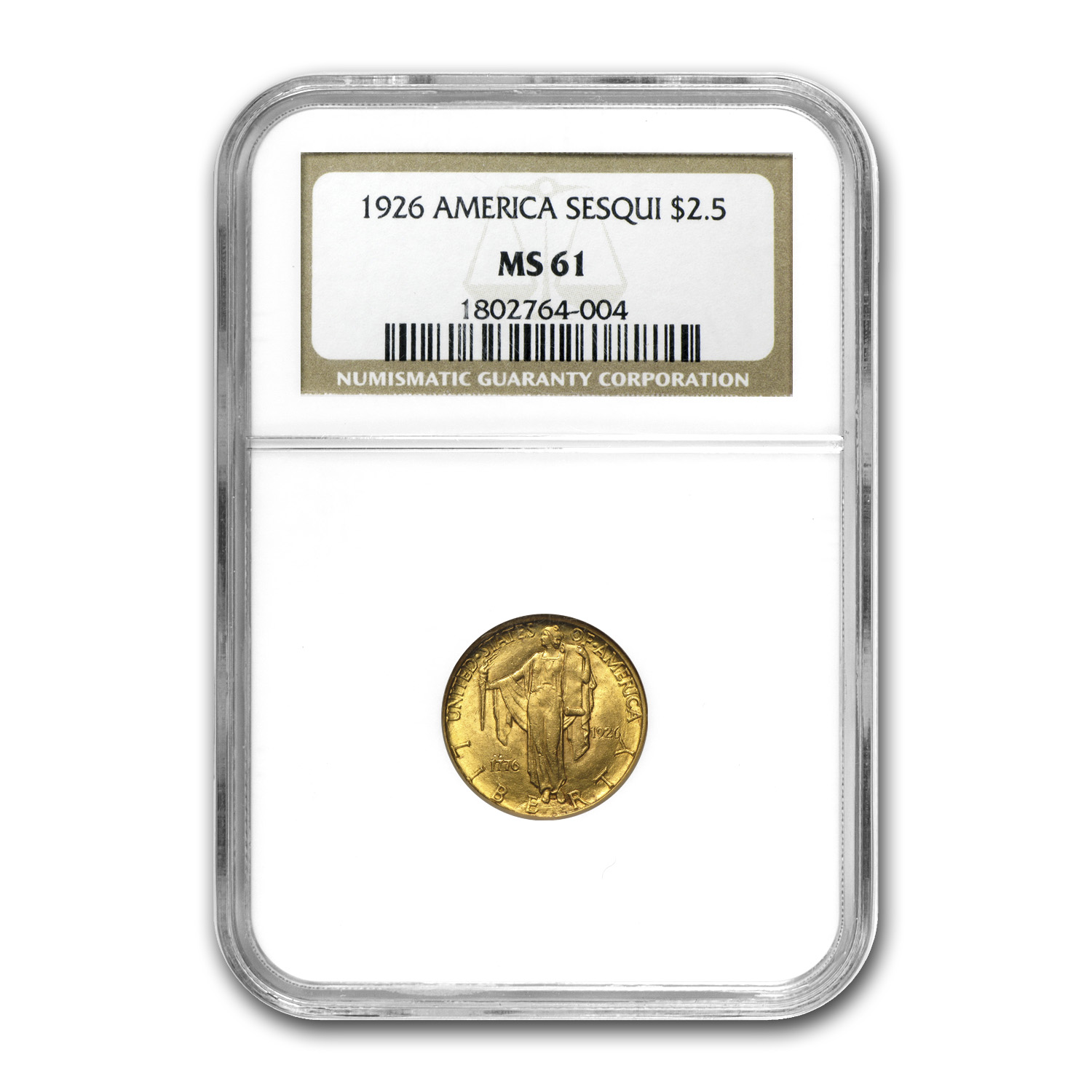 1926 Gold $2.50 America Sesquicentennial MS-61 NGC