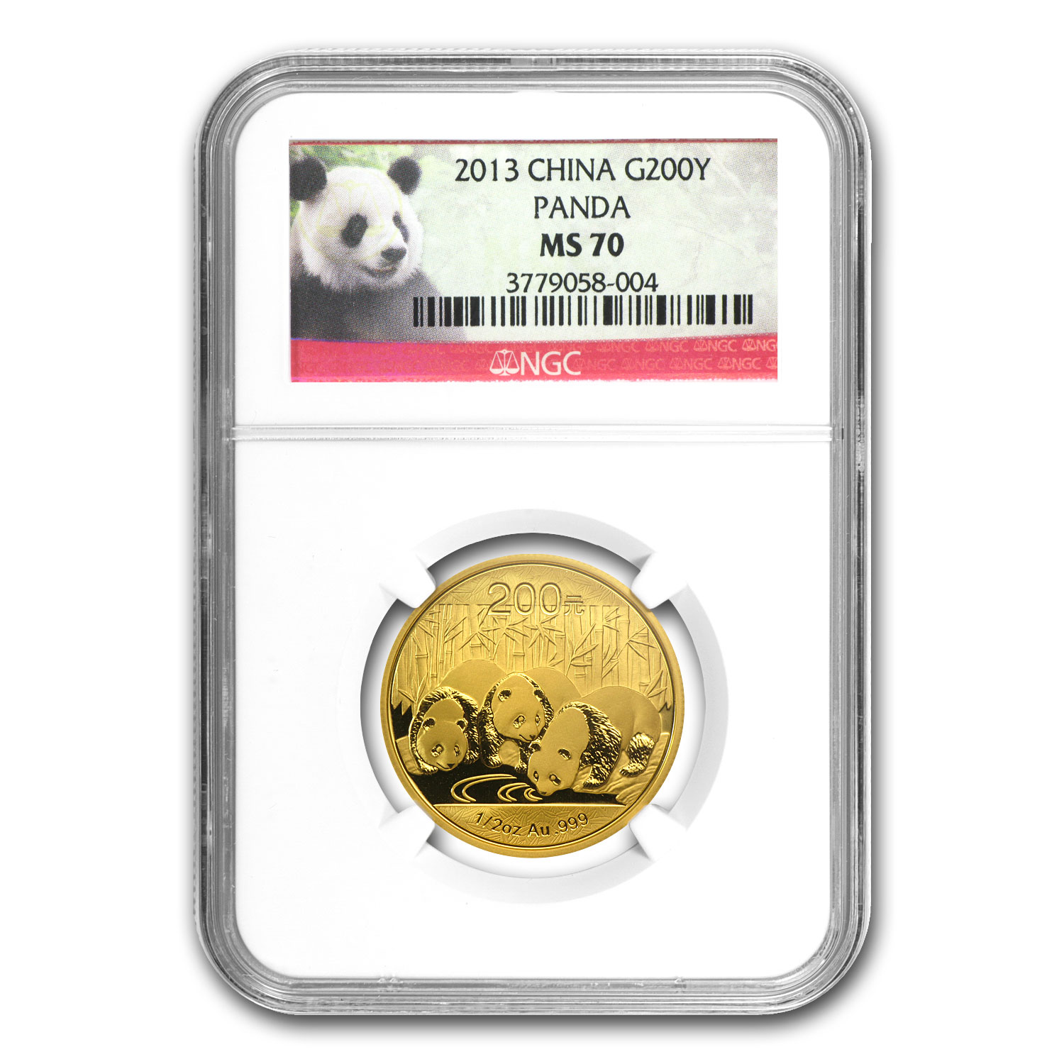 2013 China 1/2 oz Gold Panda MS-70 NGC
