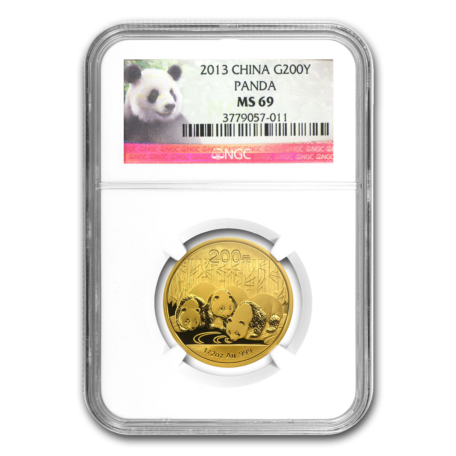2013 China 1/2 oz Gold Panda MS-69 NGC
