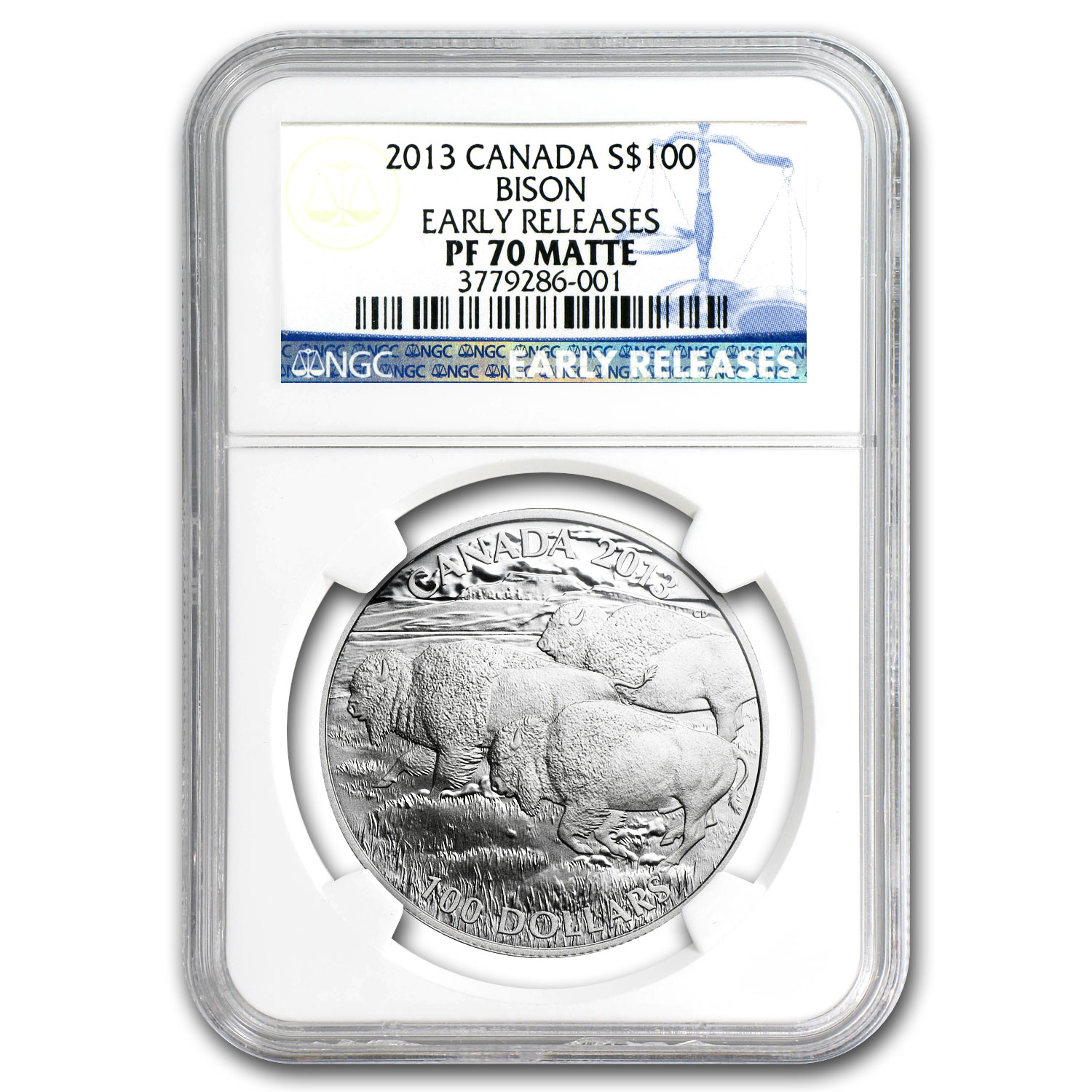 2013 Canada 1 oz Silver $100 Bison PF-70 Matte NGC (ER)
