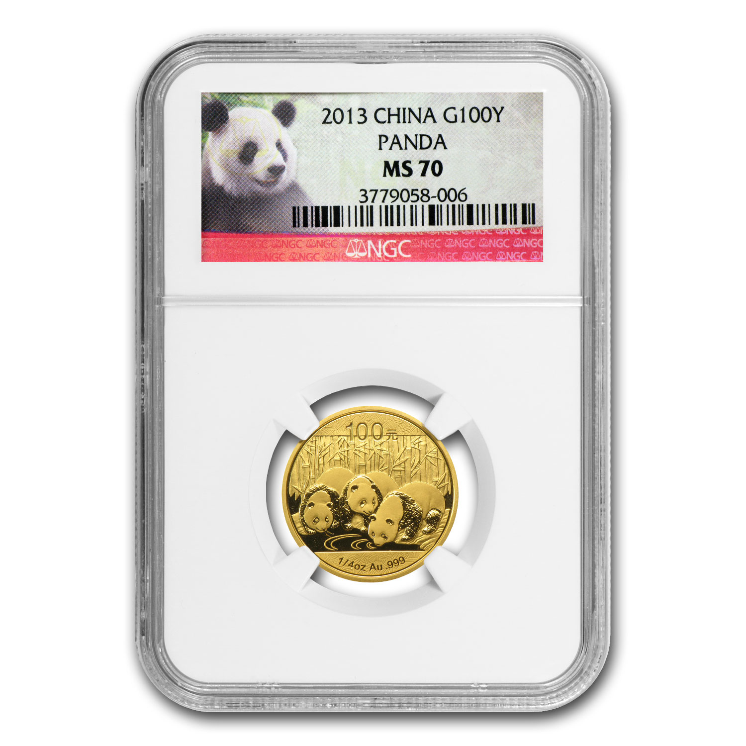 2013 China 1/4 oz Gold Panda MS-70 NGC