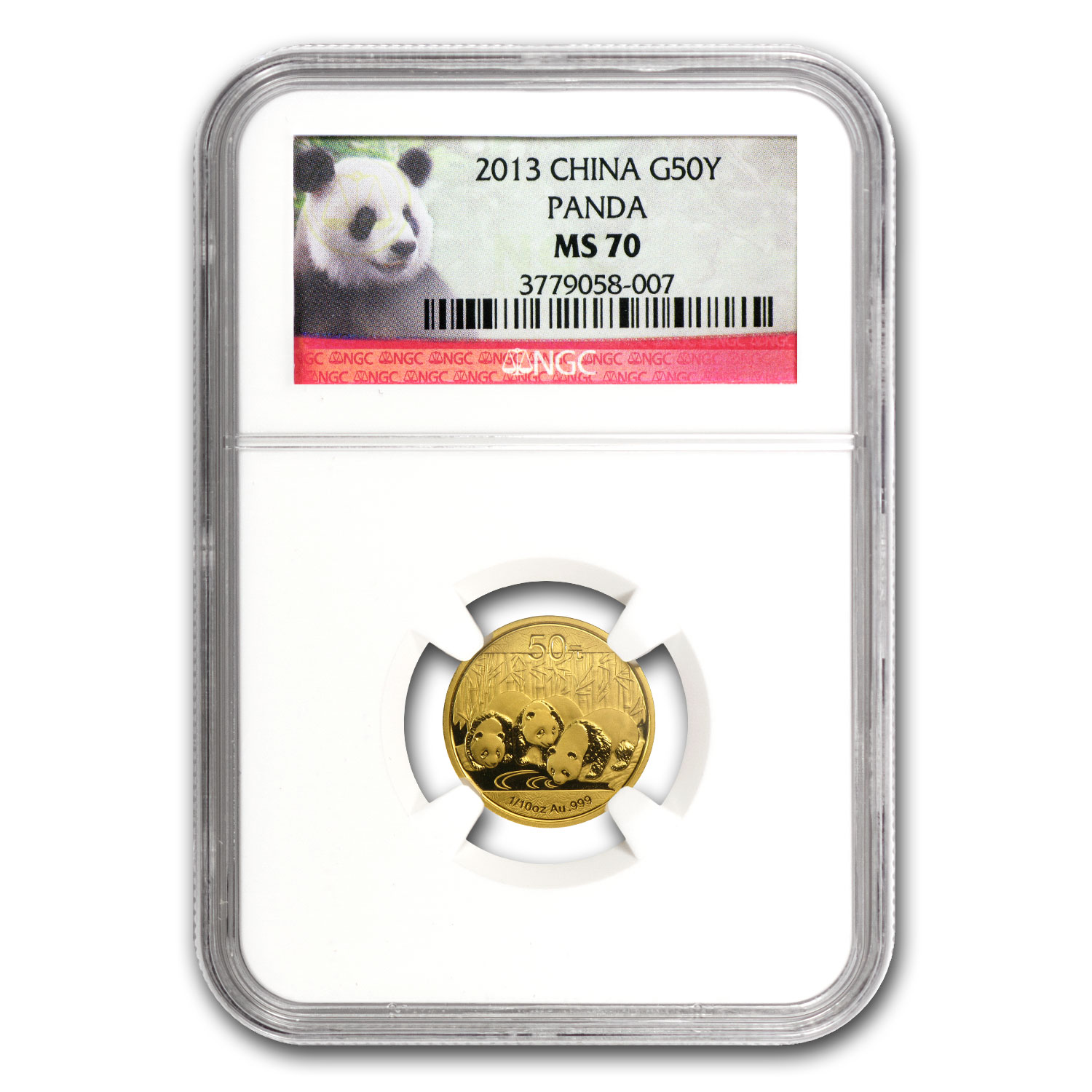 2013 (1/10 oz) Gold Chinese Panda - MS-70 NGC