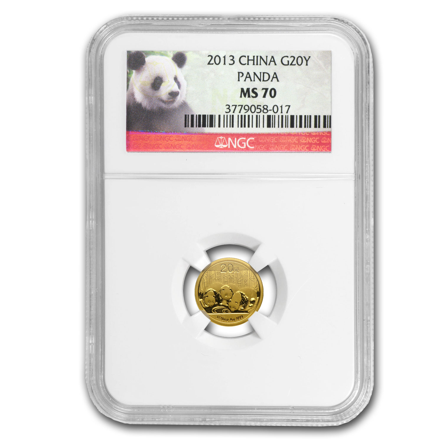2013 (1/20 oz) Gold Chinese Panda - MS-70 NGC