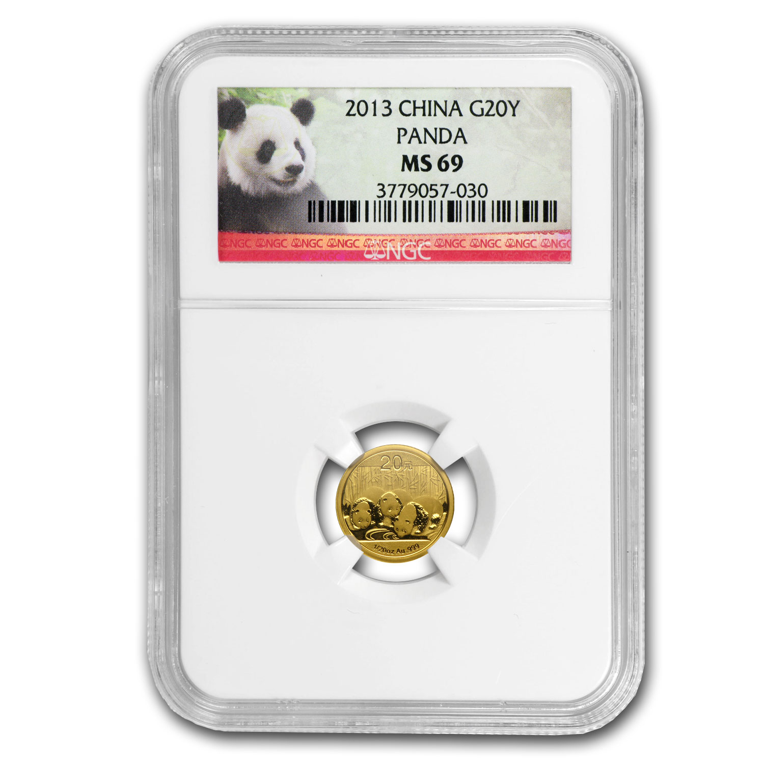 2013 China 1/20 oz Gold Panda MS-69 NGC