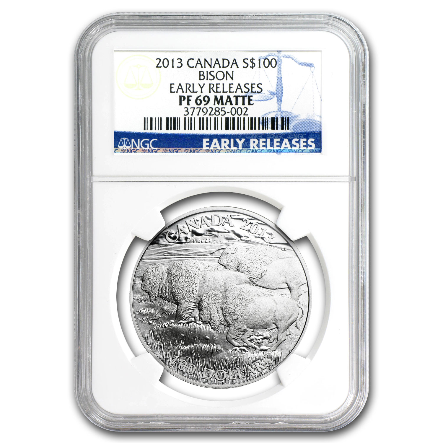 2013 Canada 1 oz Silver $100 Bison PF-69 Matte NGC (ER)