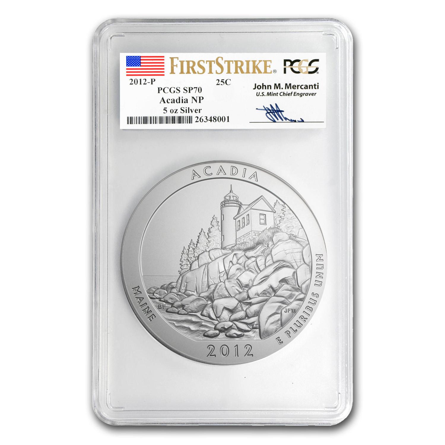 2012-P 5 oz Silver ATB Acadia SP-70 PCGS (FS, Mercanti Label)
