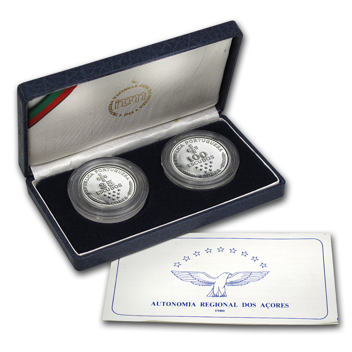 Azores 1980 Silver 2 Coin Proof Set ASW .8178