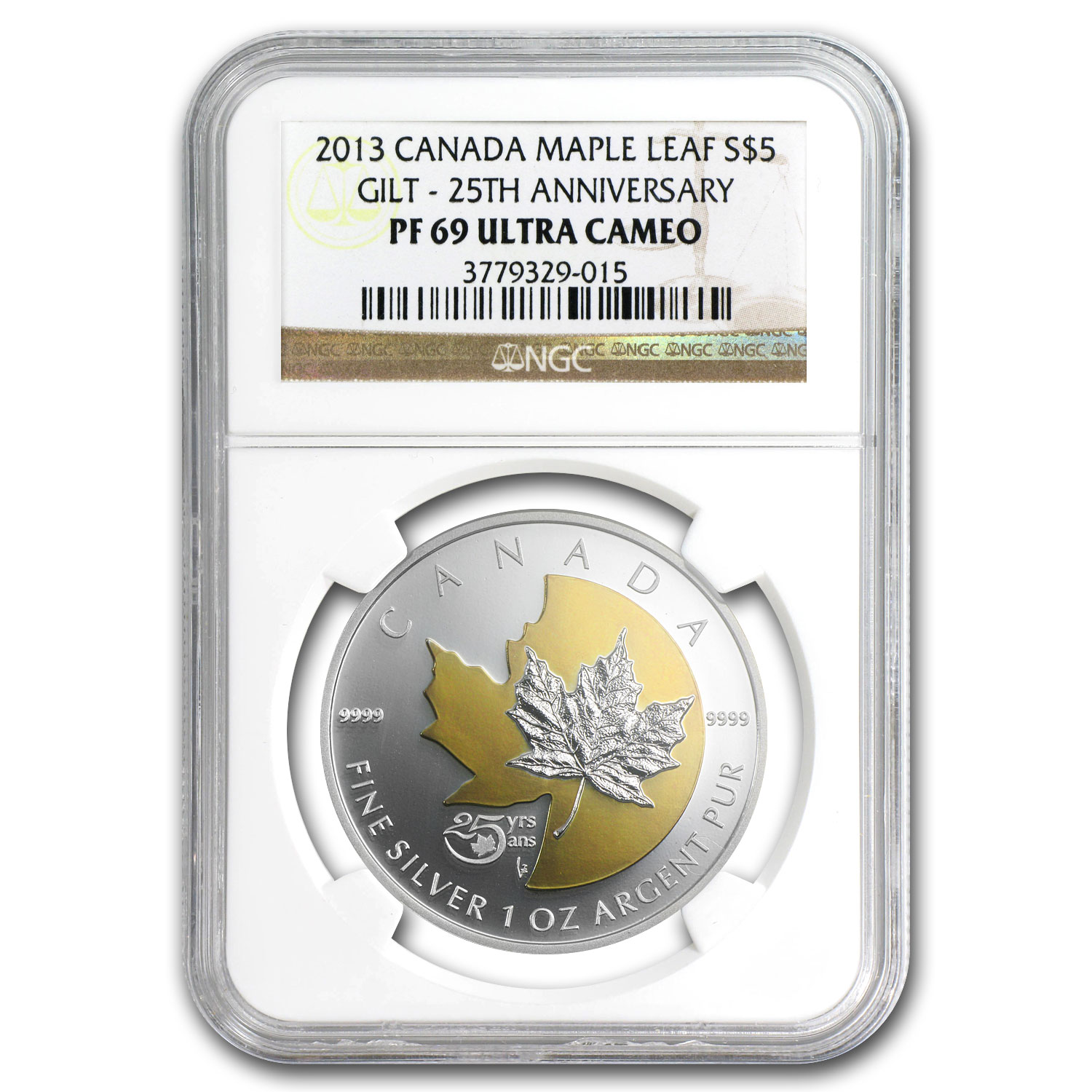 2013 Silver Can. 25th Anniv of the Maple - Gilded PF-69 UCAM NGC