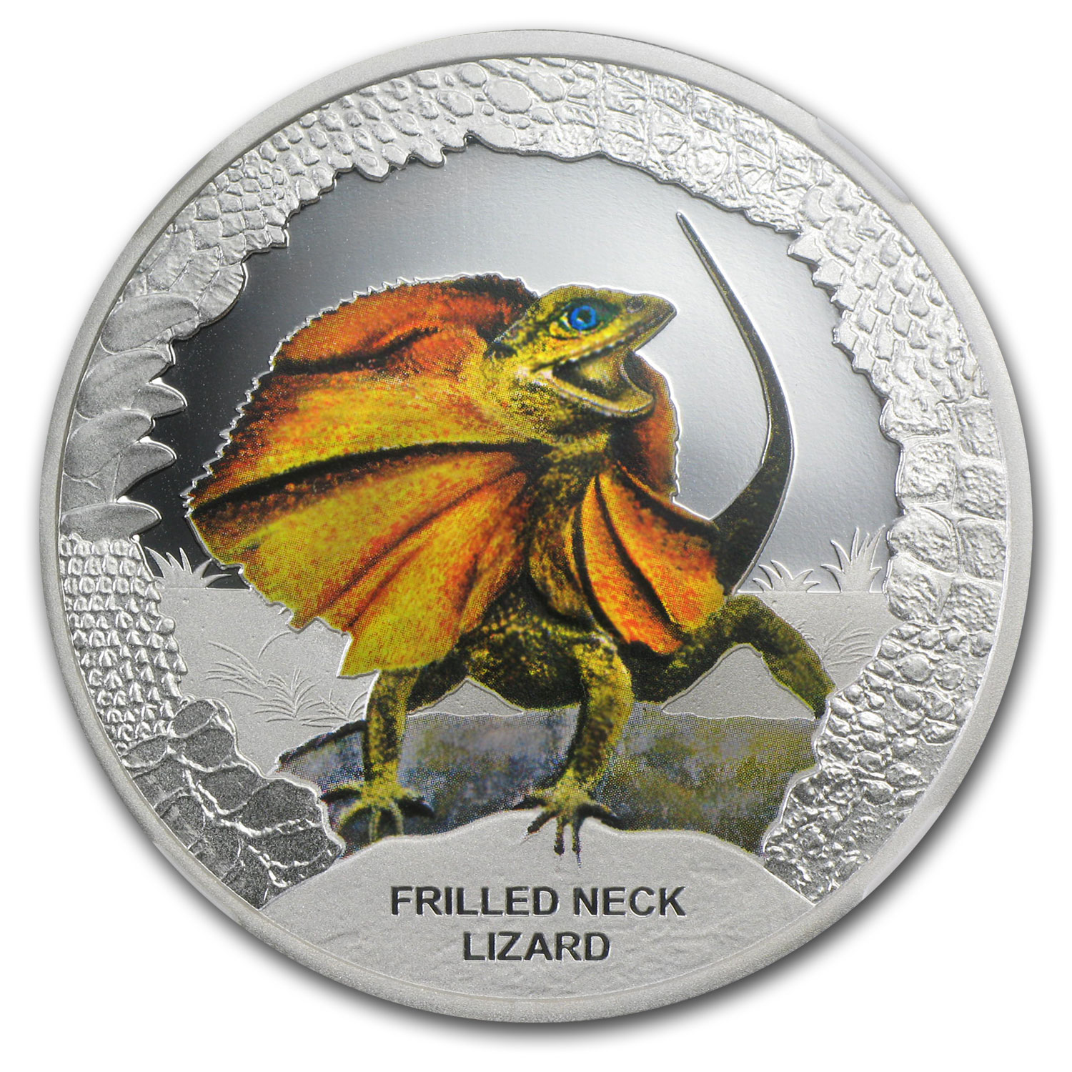 2013 Tuvalu Silver $1 The Frilled Neck Lizard PF-70 NGC (ER)