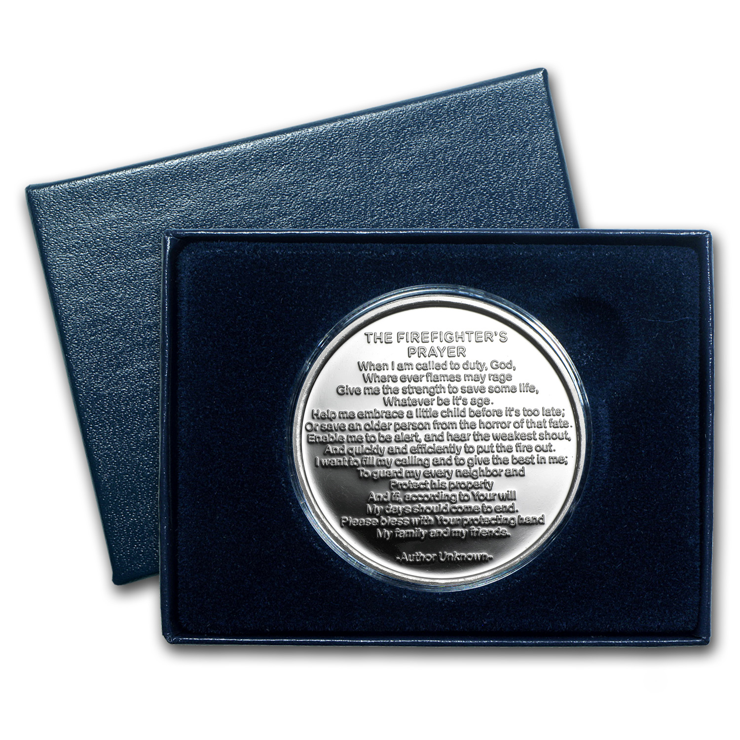 1 oz Silver Round - Firefighter's Prayer (Plain, w/Box & Cap)