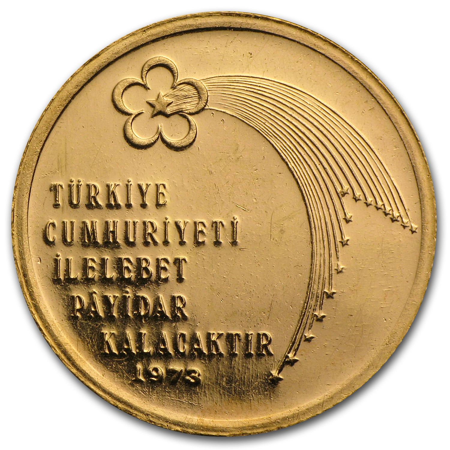 1973 Turkey Gold 500 Lira Anniversary of Republic BU