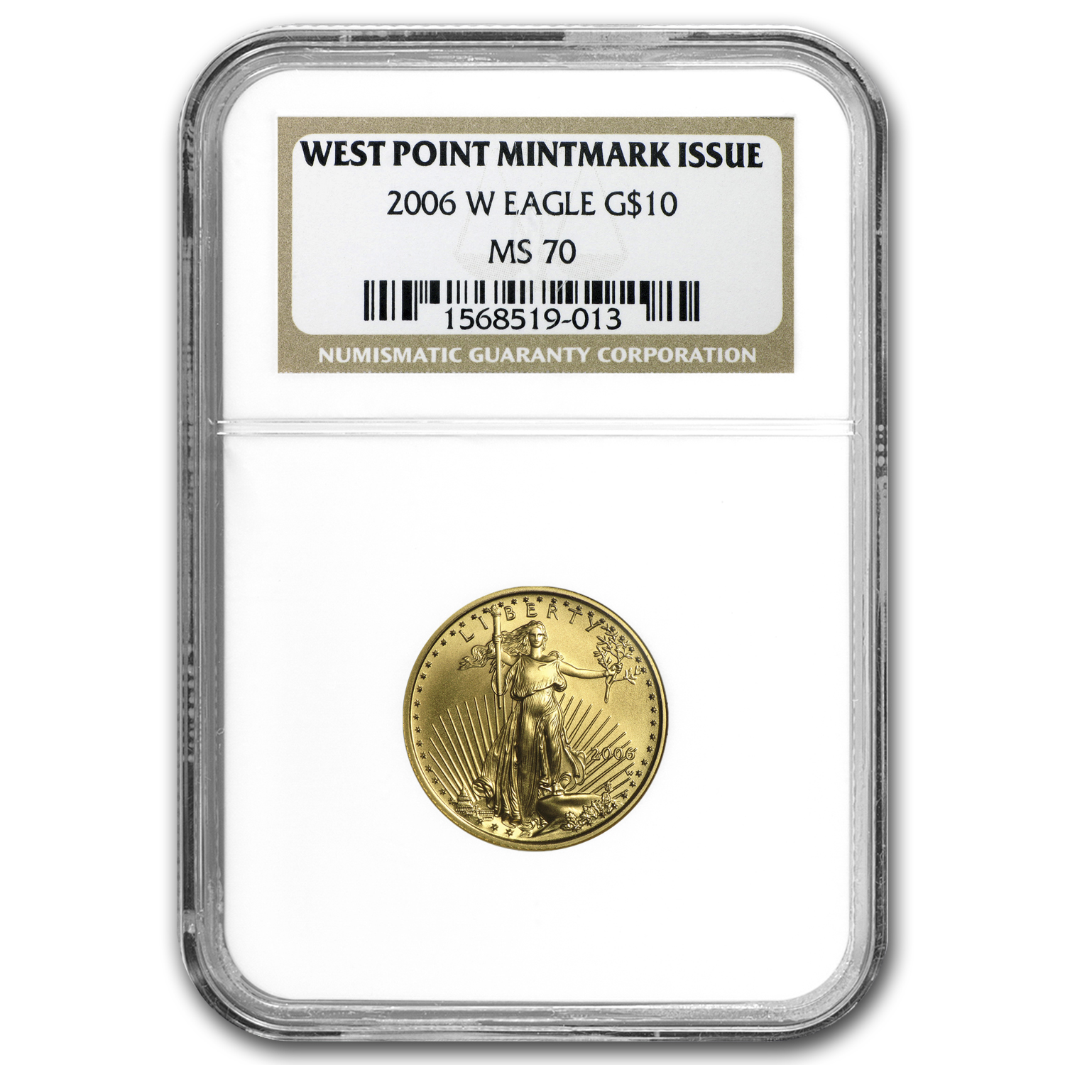 2006-W 1/4 oz Burnished Gold Eagle MS-70 NGC (West Point Label)