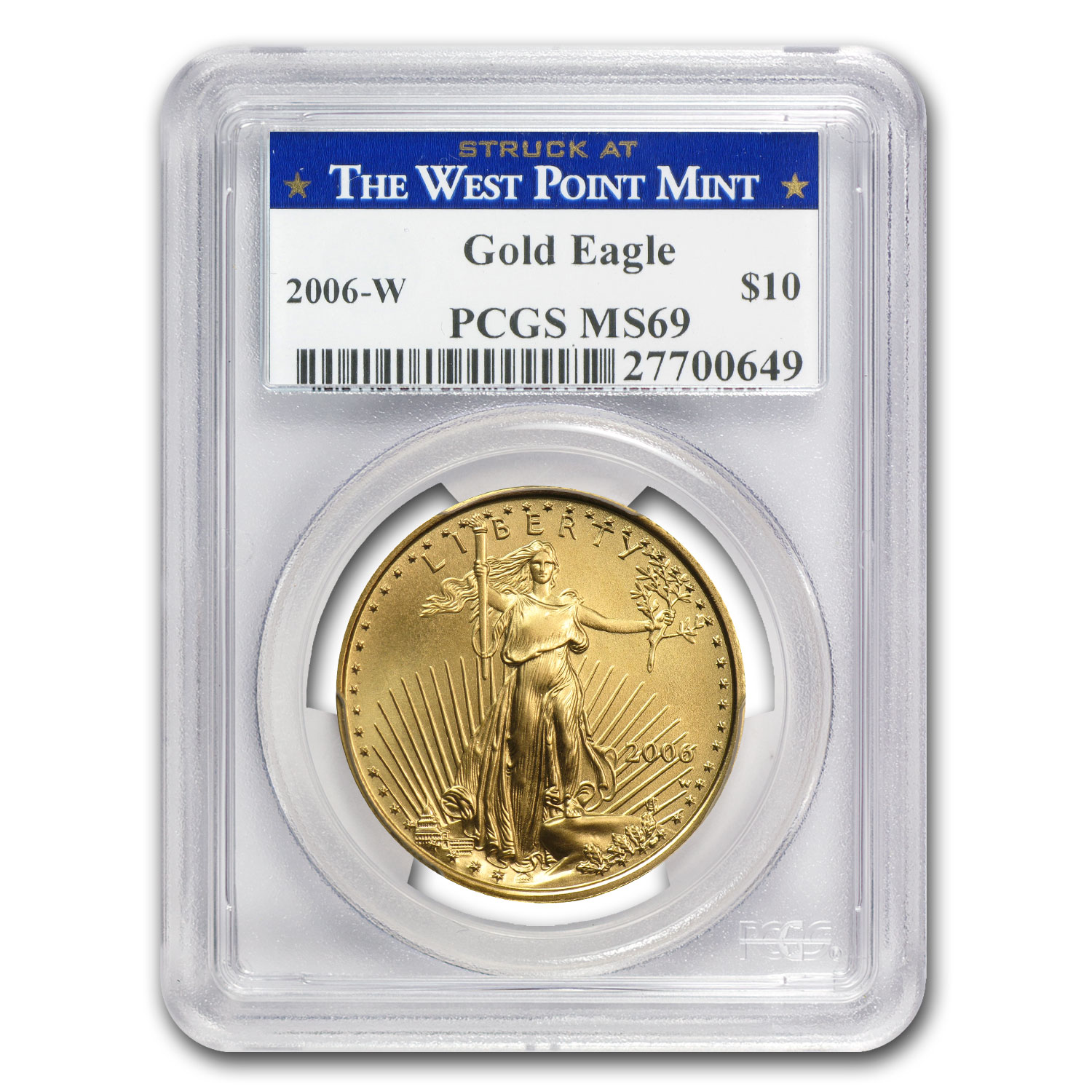 2006-W 1/4 oz Burnished Gold Eagle MS-69 PCGS (West Point Label)