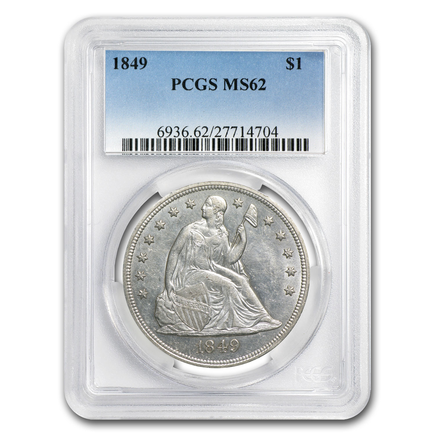 1849 Liberty Seated Dollar MS-62 PCGS