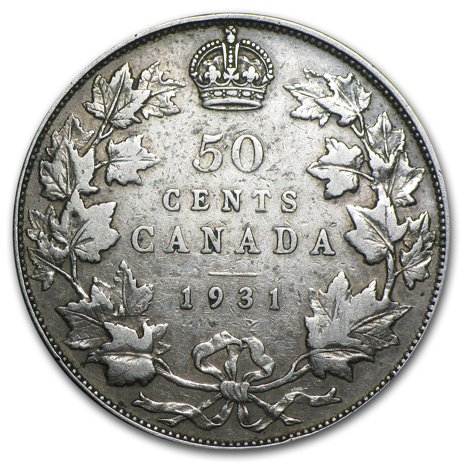 1931 Canada Silver George V 50 Cents F+