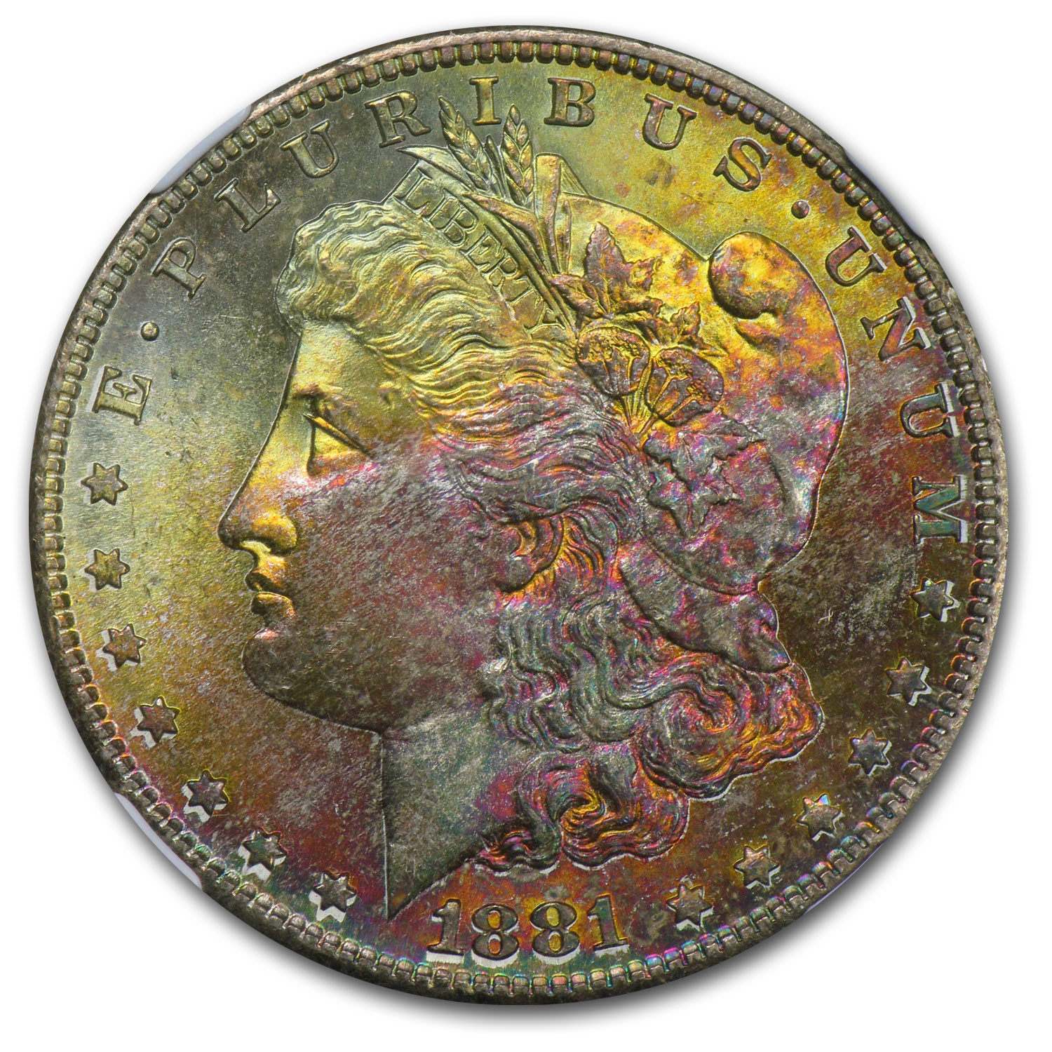 1881-S Morgan Dollar MS-67 Star NGC (CAC, Pink & Gold Obv)