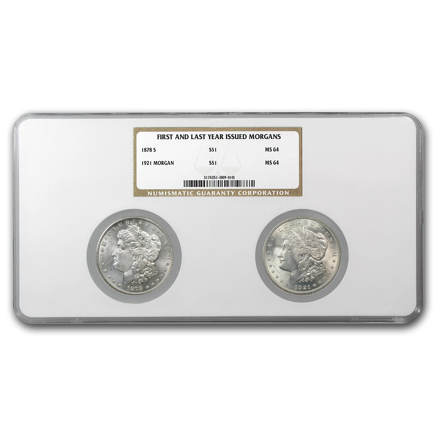 First & Last Year 2-Coin Morgan Silver Dollar Set MS-64 NGC