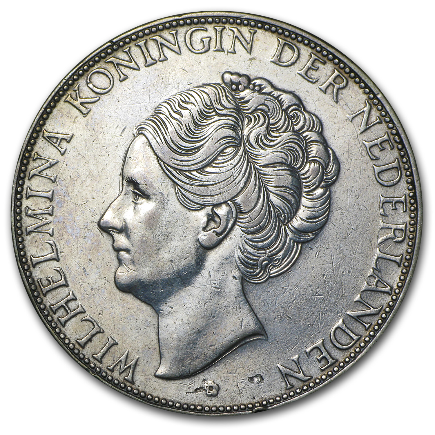 1933 Netherlands Silver 2 1/2 Guilders Deep Hair Lines
