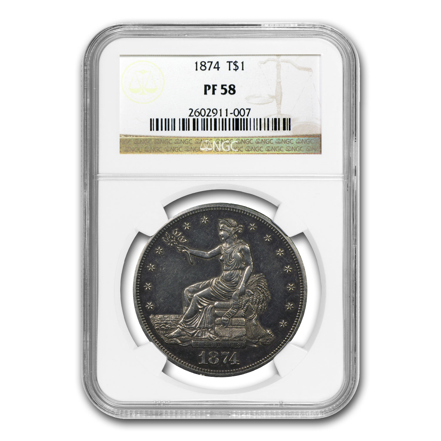 1874 Trade Dollar PF-58 NGC - Proof