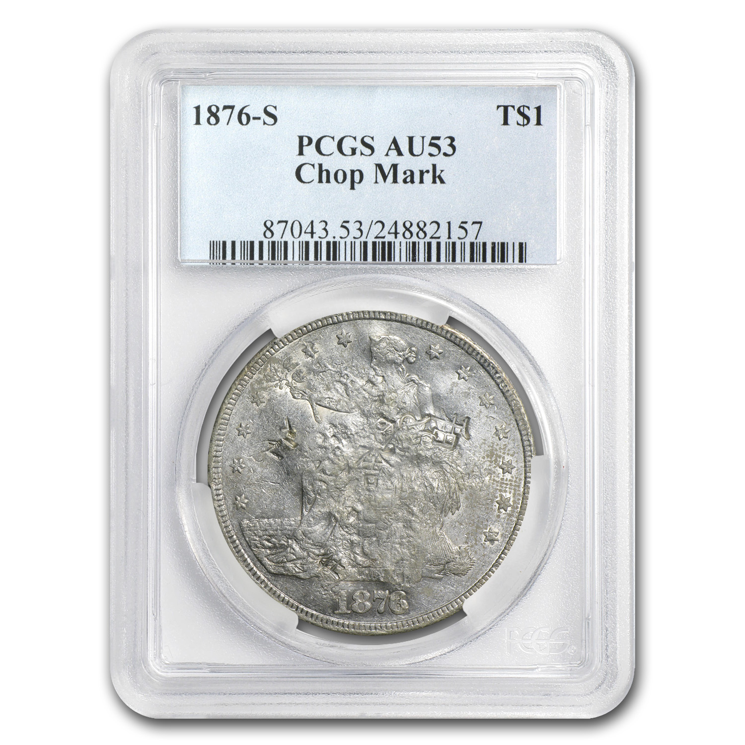 1876-S Trade Dollar AU-53 PCGS (Chopmark)