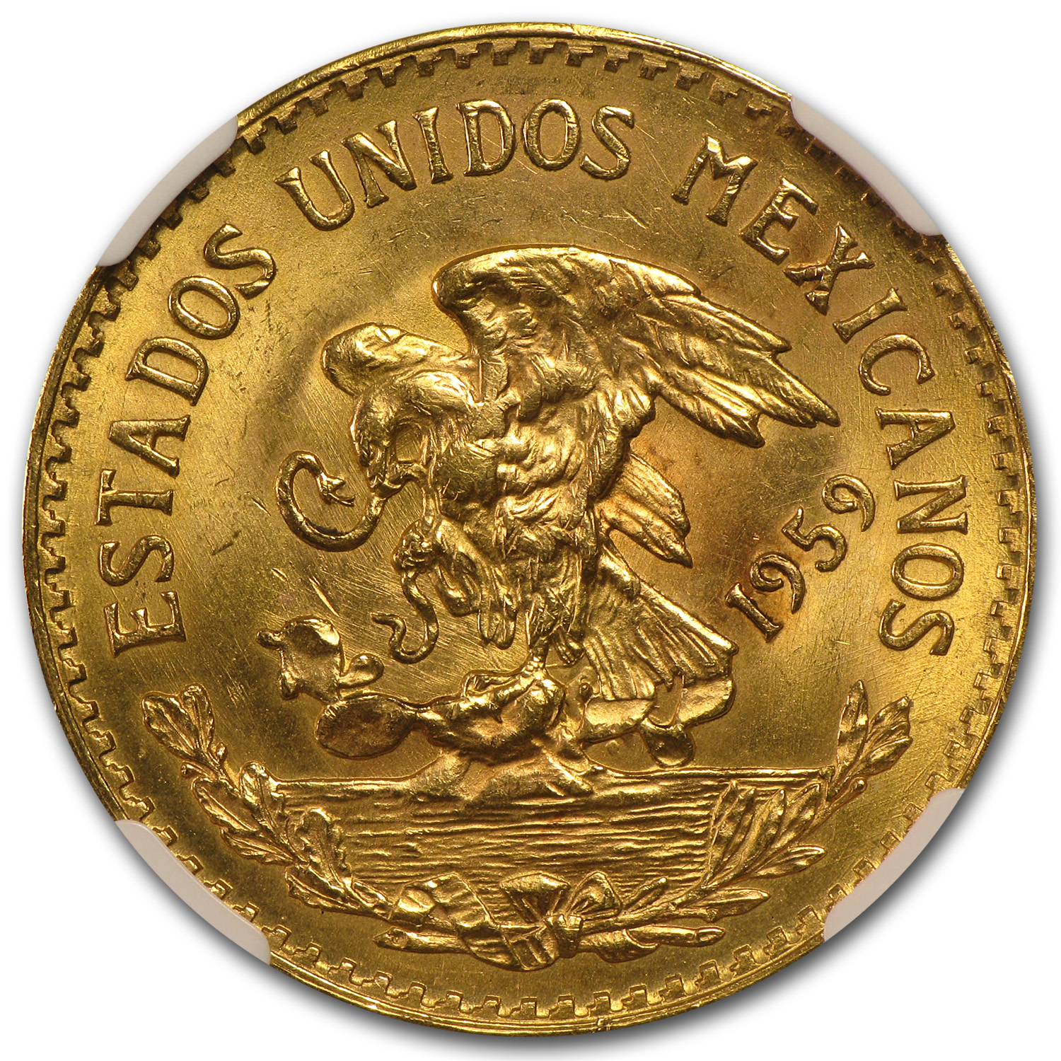 Mexico 1959 20 Pesos Gold MS-63 NGC (Struck Thru)