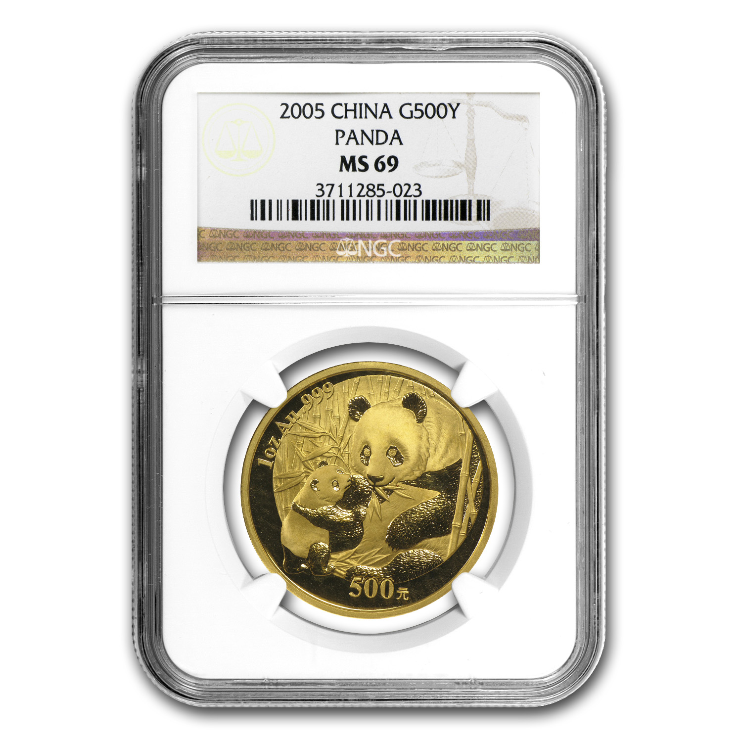 2005 China 1 oz Gold Panda MS-69 NGC