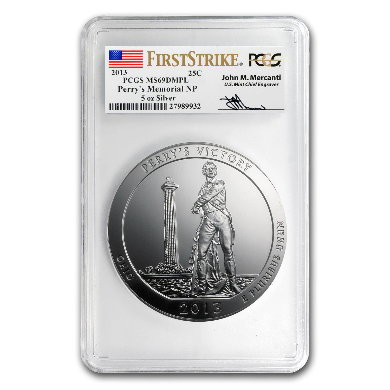 2013 5 oz Silver ATB Perry's Victory MS-69 DMPL PCGS(FS,Mercanti)