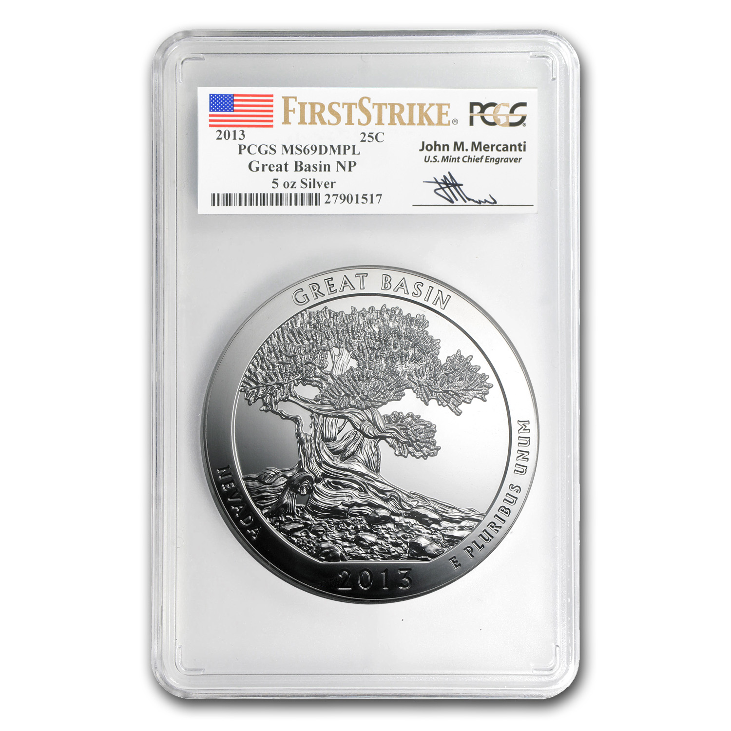 2013 5 oz Silver ATB Great Basin MS-69 DMPL PCGS (FS, Mercanti)
