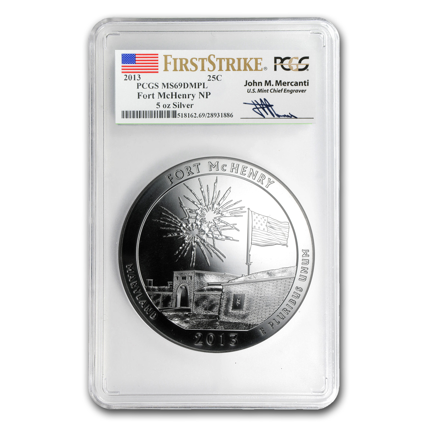 2013 5 oz Silver ATB Fort McHenry MS-69 DMPL PCGS (FS, Mercanti)