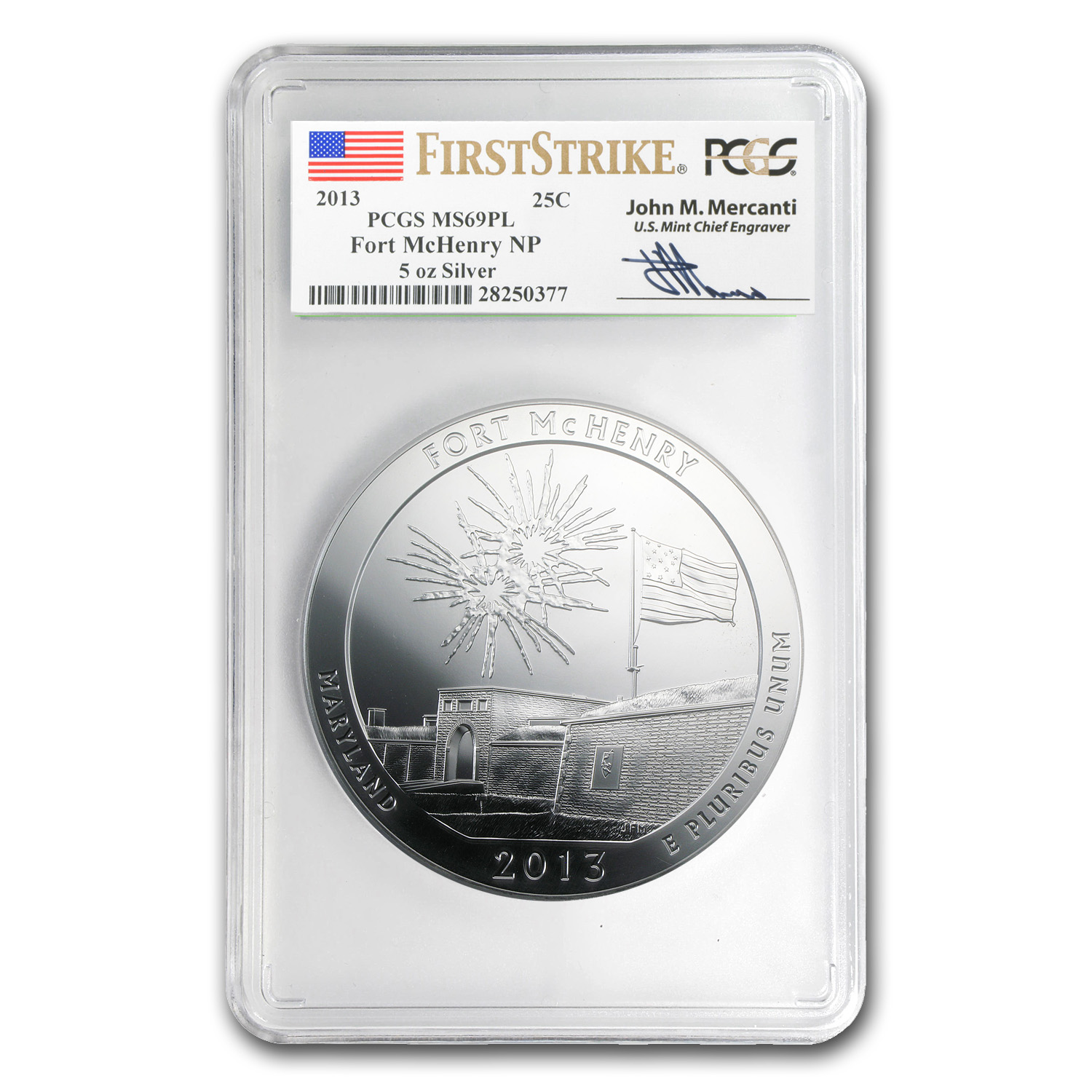 2013 5 oz Silver ATB Fort McHenry MS-69 PL PCGS (FS, Mercanti)