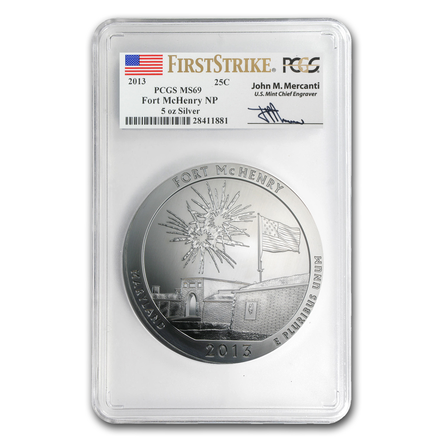 2013 5 oz Silver ATB Fort McHenry MS-69 PCGS (FS, Mercanti)