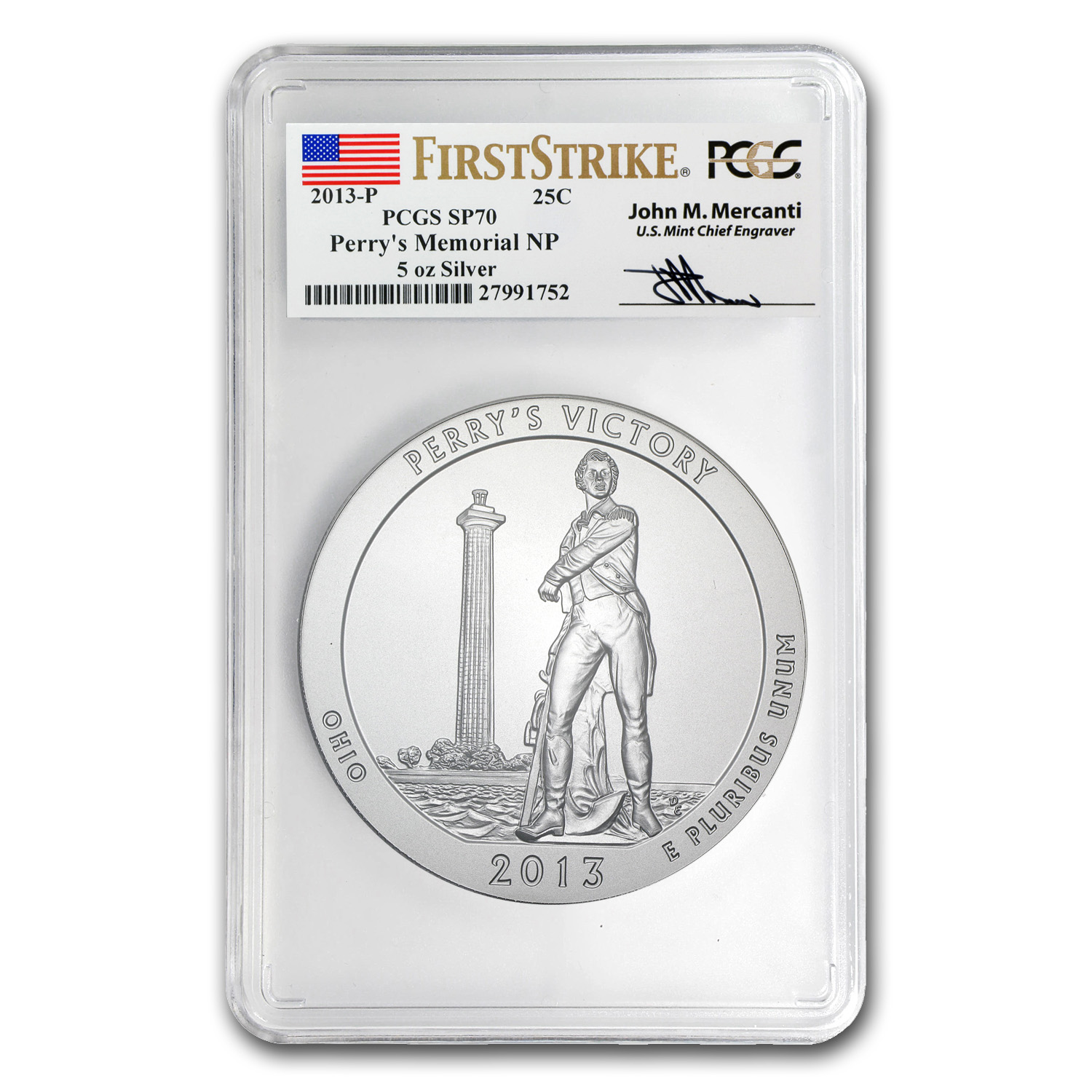 2013-P 5 oz Silver ATB Perry's Victory SP-70 PCGS (FS, Mercanti)