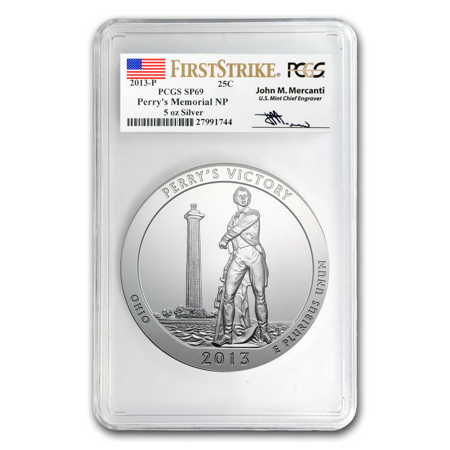 2013-P 5 oz Silver ATB Perry's Victory SP-69 PCGS (FS, Mercanti)
