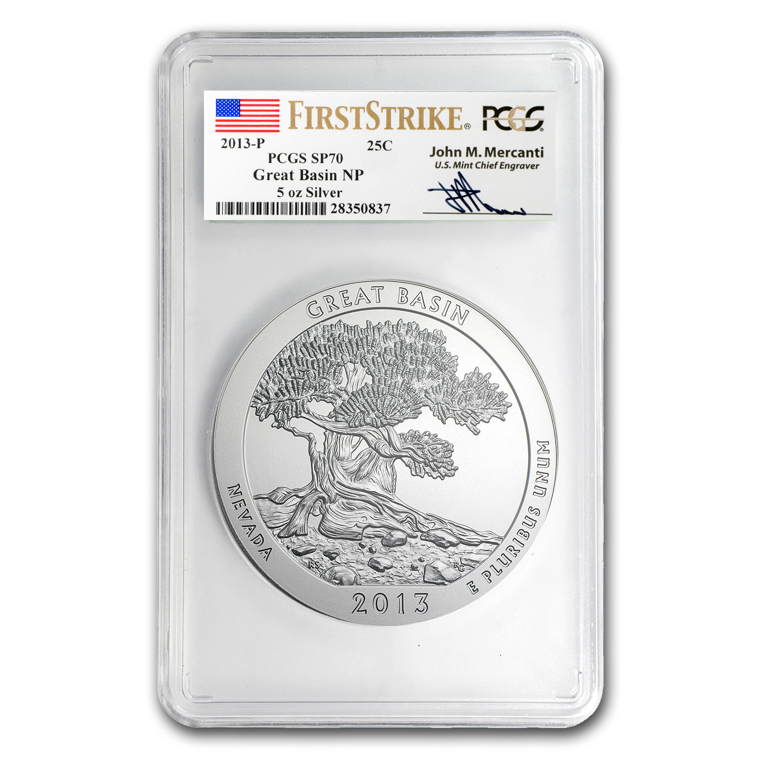 2013-P 5 oz Silver ATB Great Basin SP-70 PCGS (FS, Mercanti)