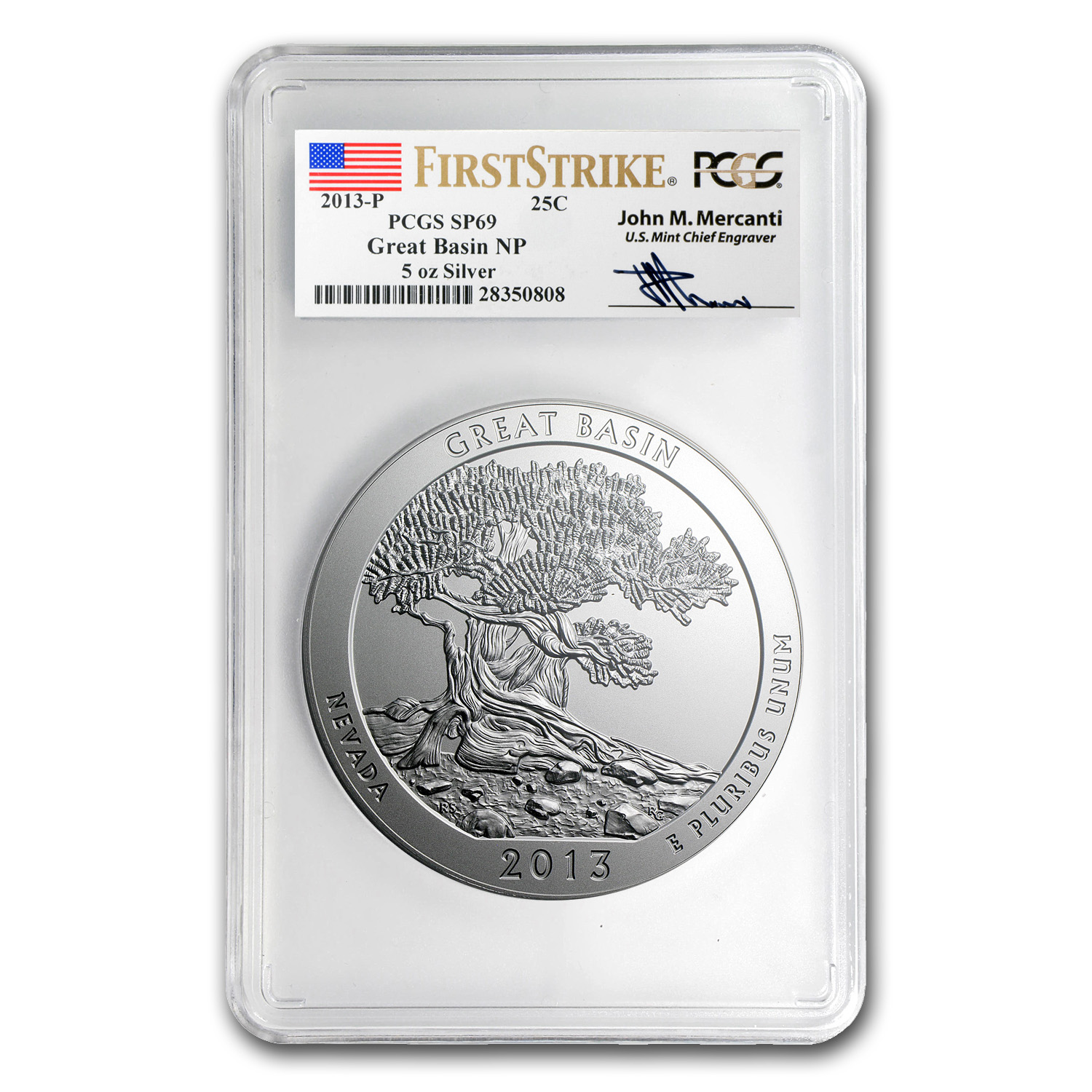 2013-P 5 oz Silver ATB Great Basin SP-69 PCGS (FS, Mercanti)