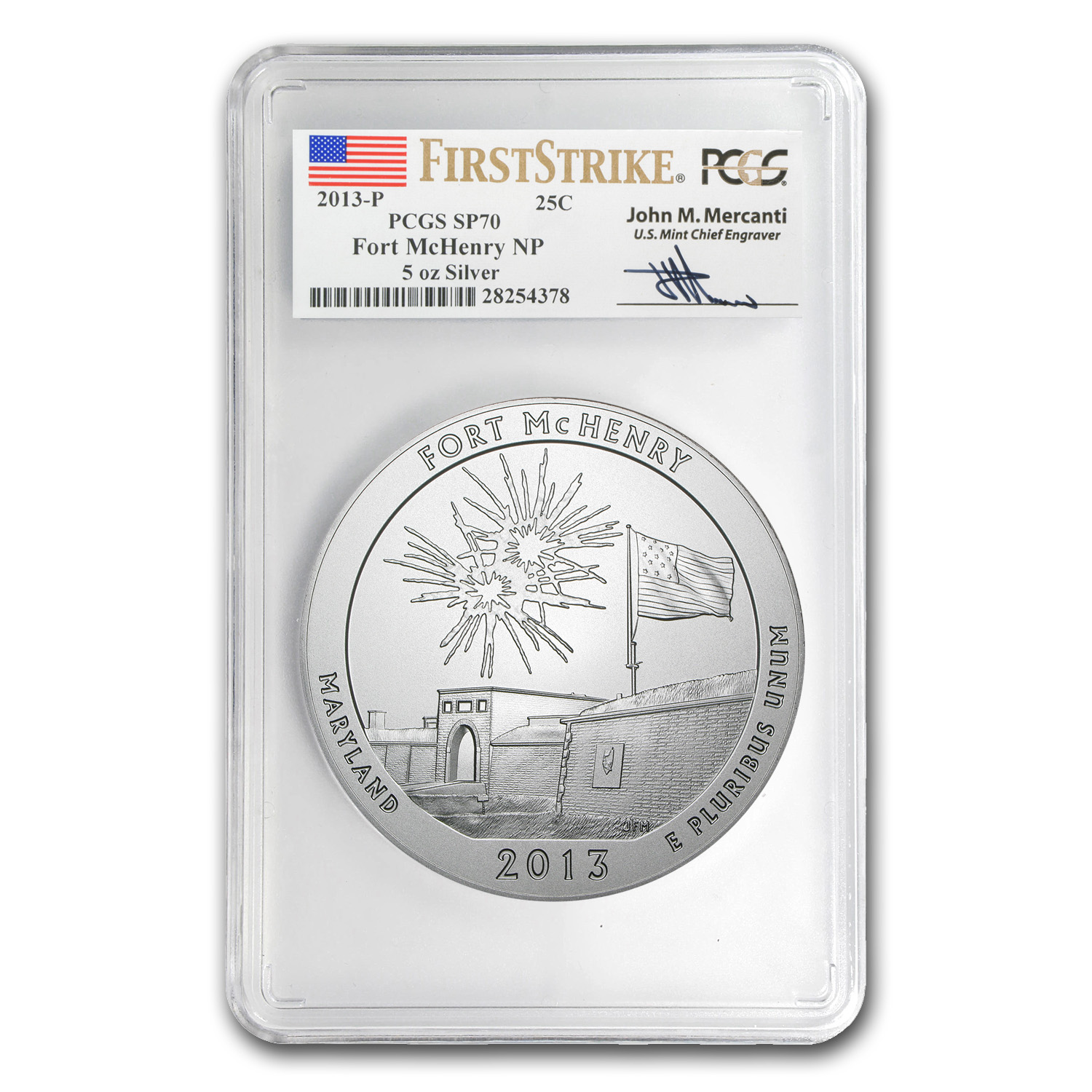 2013-P 5 oz Silver ATB Fort McHenry SP-70 PCGS (FS, Mercanti)