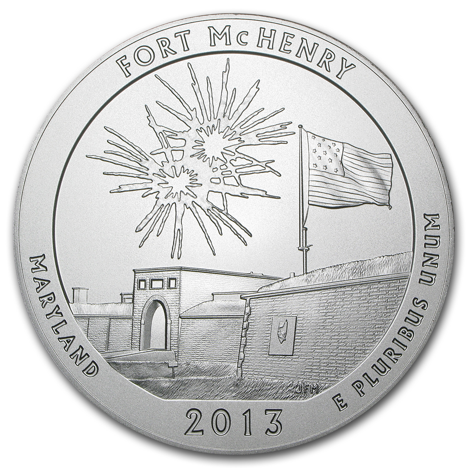 2013-P 5 oz Silver ATB Fort McHenry SP-69 PCGS (FS, Mercanti)