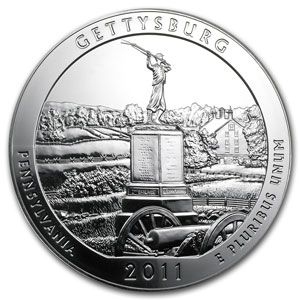 2011 5 oz Silver ATB Gettysburg, PA (Sealed Monster Box)