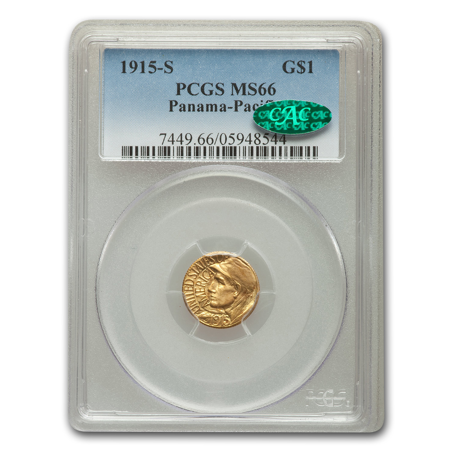 1915-S Gold $1.00 Panama-Pacific MS-66 PCGS (CAC)